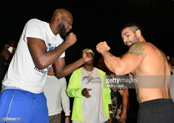 Lamar Odom and Ojani Noa attend the Celebrity Boxing Weigh In at James L. Knight Center on October 1, 2021 in Miami, Florida.
