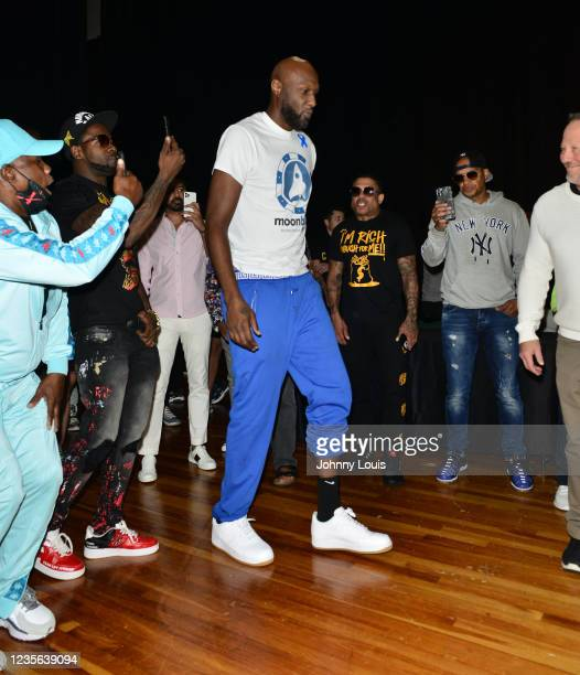 Lamar Odom attends the Celebrity Boxing Weigh In at James L. Knight Center on October 1, 2021 in Miami, Florida.