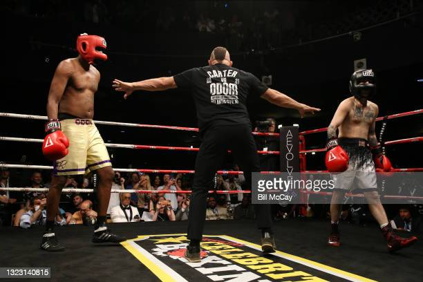 Lamar Odom, Chuck Liddell and Aaron Carter during the celebrity boxing match at Showboat Atlantic City on June 11, 2021 in Atlantic City, New Jersey.