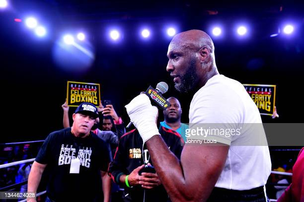 Lamar Odom during the Heavyweight main event at the Celebrity Boxing Miami 2021 Lamar Odom vs Ojani Noa at the James L. Knight Center on October 02,...