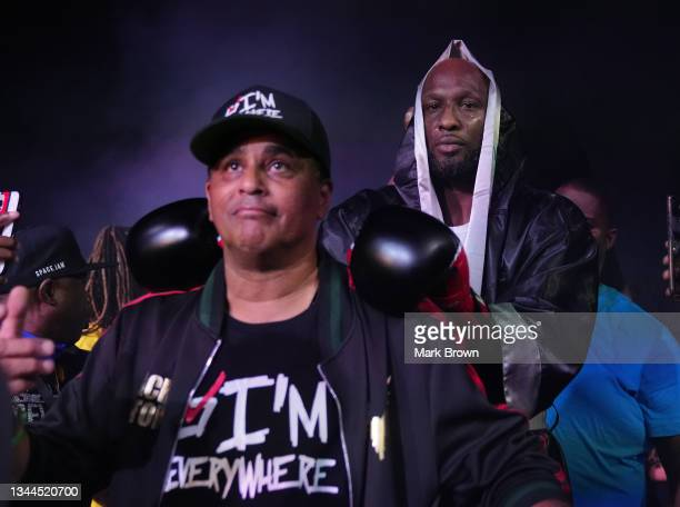 Lamar Odom enters the ring with trainer Milton Lacroix prior to the fight against Ojani Noa during Celebrity Boxing Miami 2021 Lamar Odom vs Ojani...