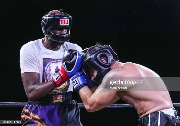 Lamar Odom fights Ojani Noa in the third round during Celebrity Boxing Miami 2021 Lamar Odom vs Ojani Noa at the James L. Knight Center on October...