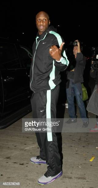 Lamar Odom is seen arriving at LAX airport on November 27 2013 in Los Angeles California
