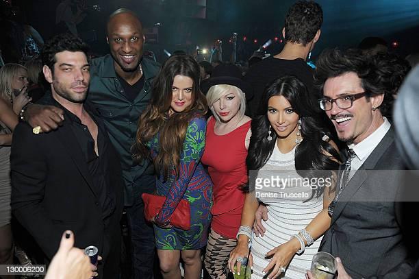 Lamar Odom Khloe Kardashian Joyce Bonelli Kim Kardashian and Clyde Hayward celebrate Kim Kardashian's birthday at Marquee Nightclun at the...