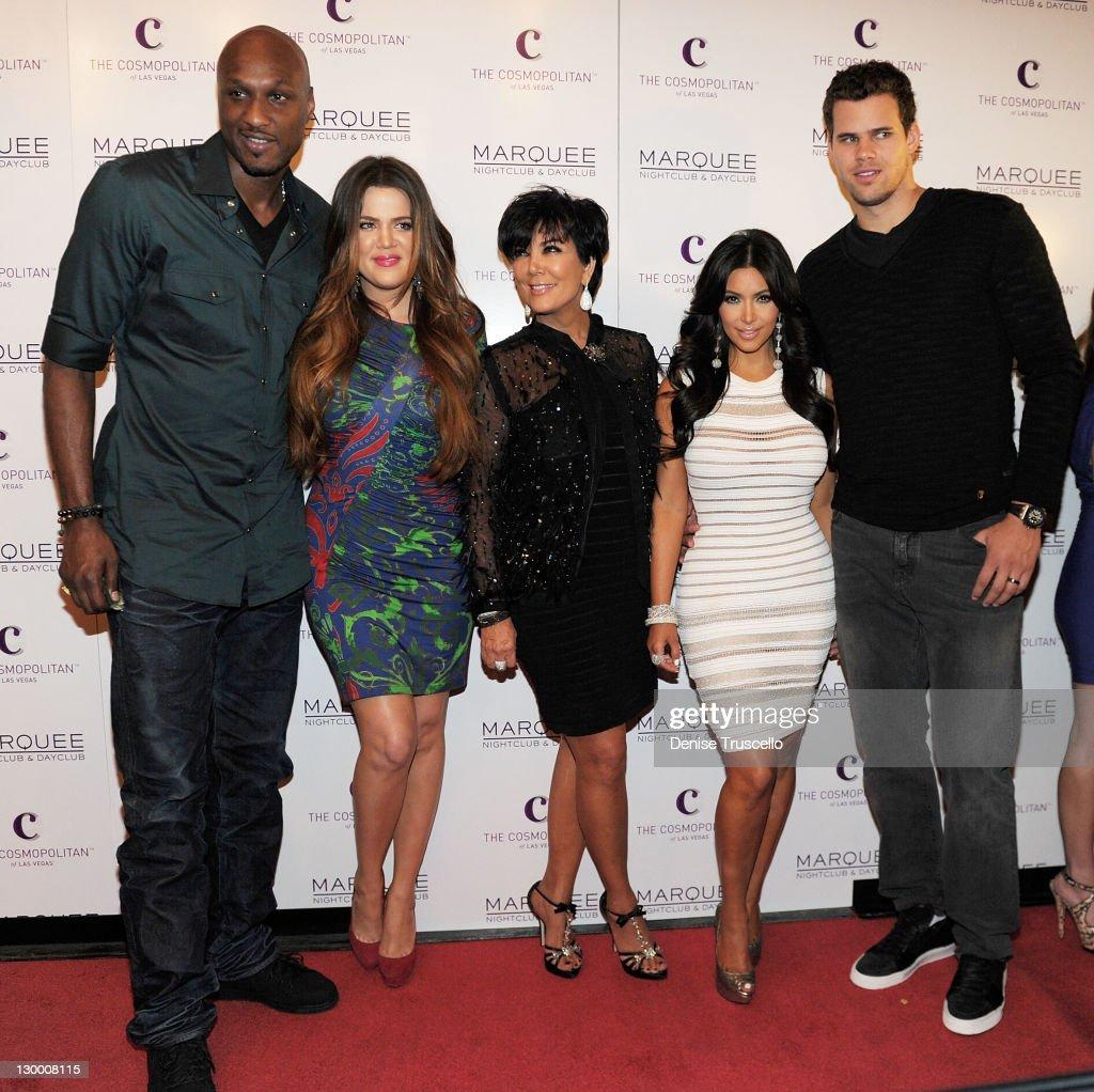 Lamar Odom, Khloe Kardashian, Kris Jenner, Kim Kardashian and Kris Humphries arrive at Kim Kardashian's birthday party at her birthday at Marquee Nightclun at the Cosmopolitan on October 22, 2011 in Las Vegas, Nevada.