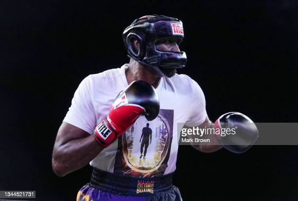 Lamar Odom looks on during his fight against Ojani Noa during Celebrity Boxing Miami 2021 Lamar Odom vs Ojani Noa at the James L. Knight Center on...