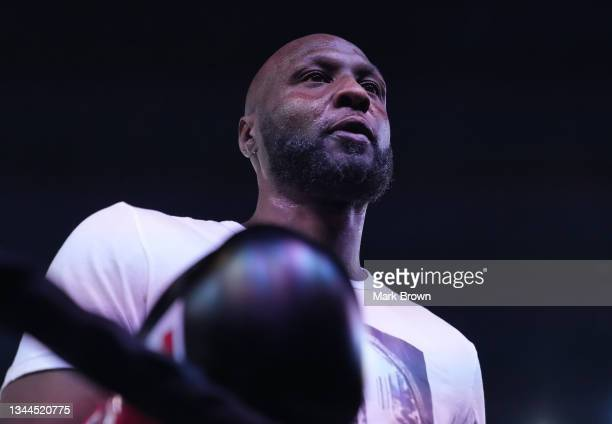 Lamar Odom looks on prior to the fight against Ojani Noa during Celebrity Boxing Miami 2021 Lamar Odom vs Ojani Noa at the James L. Knight Center on...