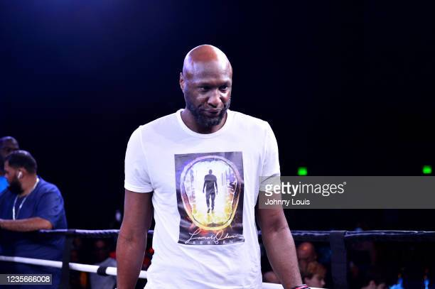 Lamar Odom looks on prior to the fight against Ojani Noa during the Heavyweight main event at the Celebrity Boxing Miami 2021 Lamar Odom vs Ojani Noa...