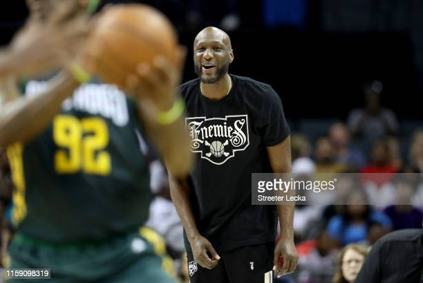 Lamar Odom of Enemies looks on against Ball Hogs during week two of the BIG3 three on three basketball league at Spectrum Center on June 29, 2019 in...