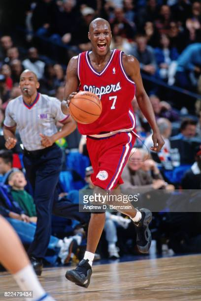Lamar Odom of the Los Angeles Clippers dribbles during the 2000 Rookie AllStar Game played February 11 2000 at the ORACLE Arena in Oakland California...