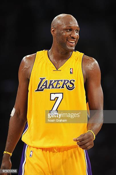 Lamar Odom of the Los Angeles Lakers cracks a smile during the game against the Dallas Mavericks at Staples Center on October 30 2009 in Los Angeles...