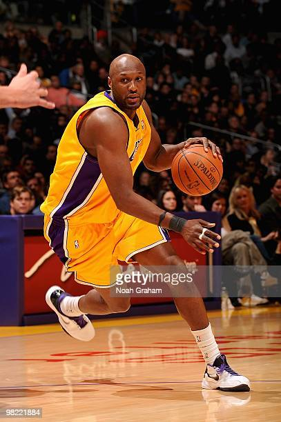 Lamar Odom of the Los Angeles Lakers drives to the basket during the game against the Golden State Warriors on February 16 2010 at Staples Center in...