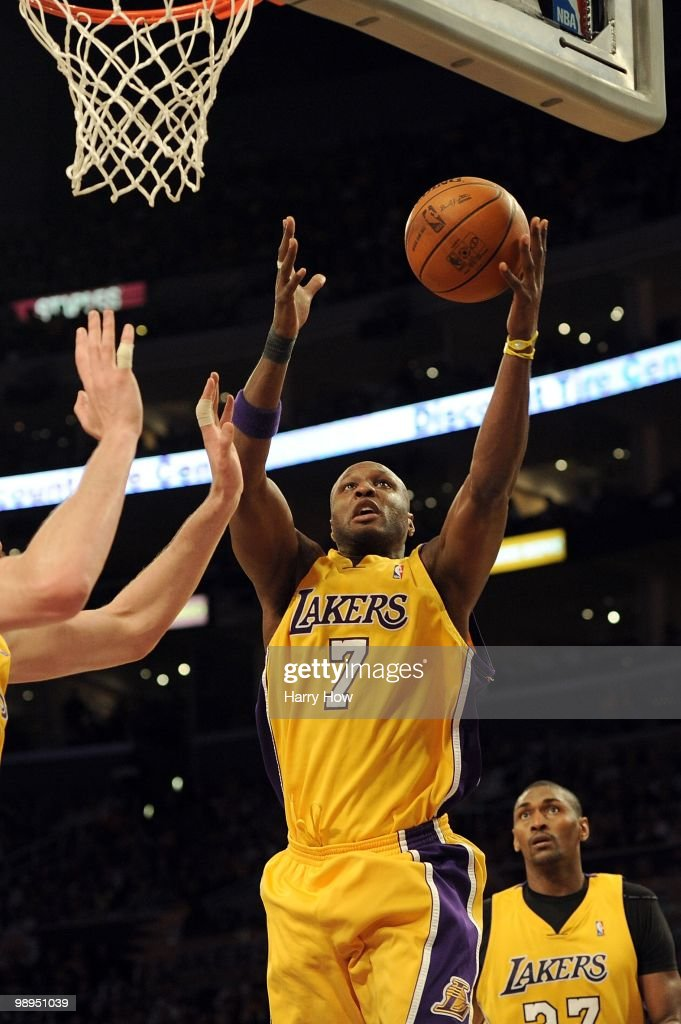 Lamar Odom #7 of the Los Angeles Lakers lays the ball up against the Utah Jazz during Game Two of the Western Conference Semifinals of the 2010 NBA Playoffs at Staples Center on May 4, 2010 in Los Angeles, California.