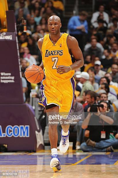 Lamar Odom of the Los Angeles Lakers moves the ball against the Dallas Mavericks during the game at Staples Center on October 30 2009 in Los Angeles...