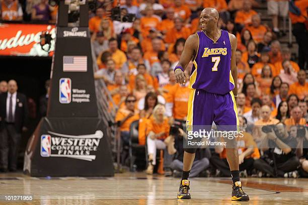 Lamar Odom of the Los Angeles Lakers reacts to a play against the Phoenix Suns in the second quarter of Game Six of the Western Conference Finals...