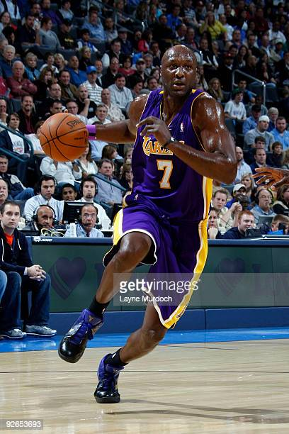 Lamar Odom of the Los Angeles Lakers shoots over drives toward the basket during a game against the Oklahoma City Thunder on November 3 2009 at the...