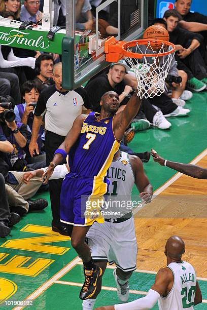 Lamar Odom of the Los Angeles Lakers takes the shot against Glen Davis of the Boston Celtics in Game Three of the 2010 NBA Finals on June 8 2010 at...