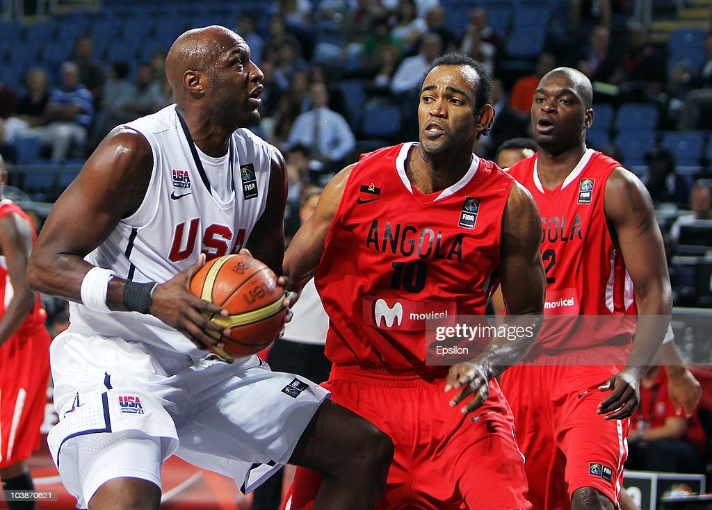 Lamar Odom (L) of USA battles for the ball with Joaquim Gomes (R) of Angola at the 2010 World Championships of Basketball during the game between USA vs Angola on September 6, 2010 in Istanbul, Turkey.