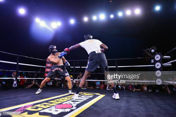 Lamar Odom punches Ojani Noa during the Heavyweight main event at the Celebrity Boxing Miami 2021 Lamar Odom vs Ojani Noa at the James L. Knight...