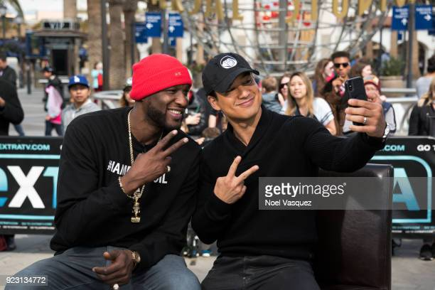 Lamar Odom takes a selfie with Mario Lopez at 'Extra' at Universal Studios Hollywood on February 22 2018 in Universal City California