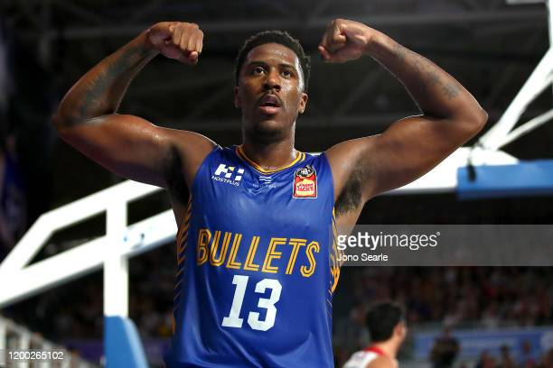 Lamar Patterson of the Bullets celebrates a point during the round 16 NBL match between the Brisbane Bullets and the Illawarra Hawks at Nissan Arena...