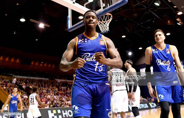 Lamar Patterson of the Bullets celebrates after drawing the foul during the round eight NBL match between the Brisbane Bullets and Melbourne United...