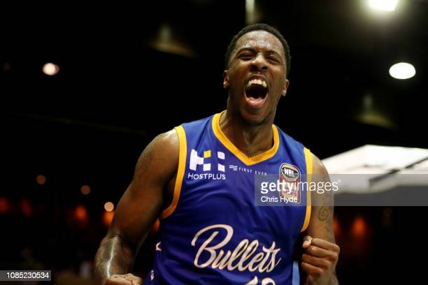 Lamar Patterson of the Bullets celebrates during the round 10 NBL match between the Brisbane Bullets and the Perth Wildcats at Brisbane Convention...
