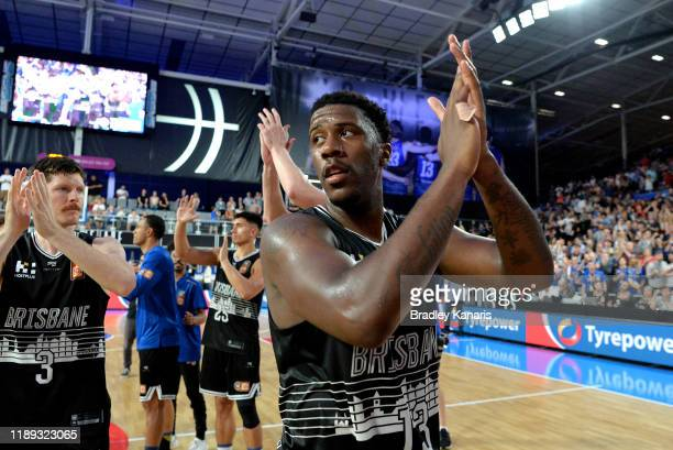 Lamar Patterson of the Bullets celebrates victory after the round 8 NBL match between the Brisbane Bullets and Adelaide 36ers at Nissan Arena on...
