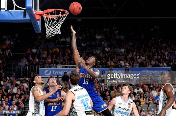Lamar Patterson of the Bullets drives to the basket during the round 19 NBL match between the Brisbane Bullets and the New Zealand Breakers at Nissan...