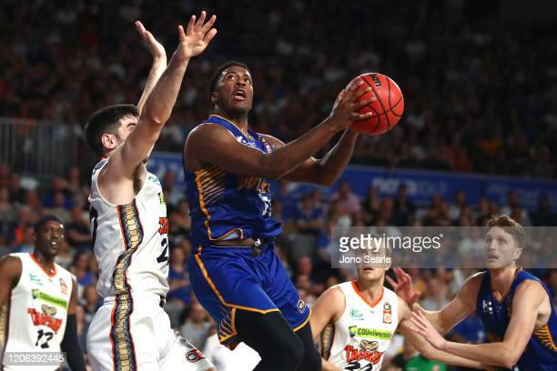 Lamar Patterson of the Bullets drives to the hoop during the round 20 NBL match between the Brisbane Bullets and the Cairns Taipans at Nissan Arena...