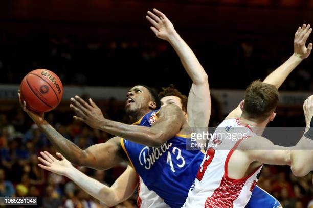 Lamar Patterson of the Bullets shoots during the round 10 NBL match between the Brisbane Bullets and the Perth Wildcats at Brisbane Convention...