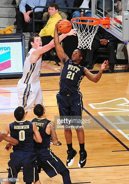 Lamar Patterson of the Pittsburgh Panthers grabs a rebound against Daniel Miller of the Georgia Tech Yellow Jackets at McCamish Pavilion on January...