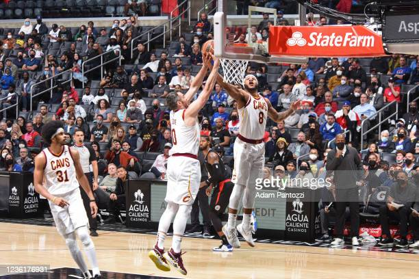 Lamar Stevens of the Cleveland Cavaliers grabs a rebound against the LA Clippers on October 27, 2021 at STAPLES Center in Los Angeles, California....