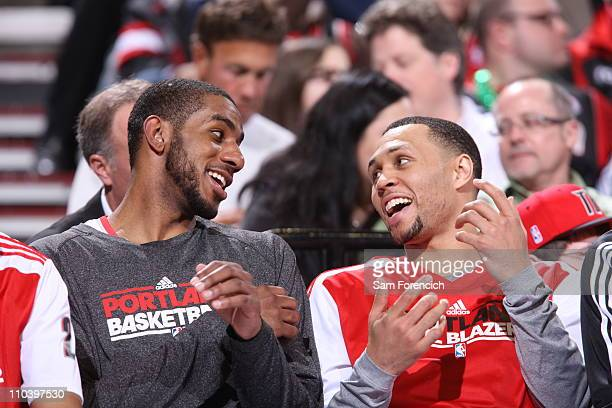 LaMarcus Aldridge and Brandon Roy of the Portland Trail Blazers celebrate during a game against the Cleveland Cavaliers on March 17 2011 at the Rose...
