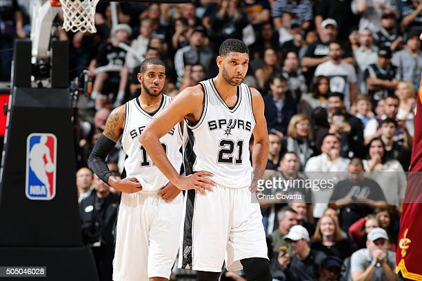 LaMarcus Aldridge and Tim Duncan of the San Antonio Spurs are seen during the game against the Cleveland Cavalierson January 14 2016 at the ATT...