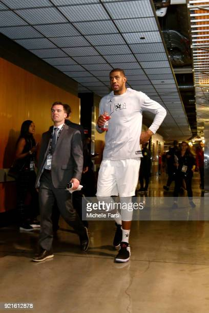 LaMarcus Aldridge of Team LeBron before the NBA AllStar Game as a part of 2018 NBA AllStar Weekend at STAPLES Center on February 18 2018 in Los...