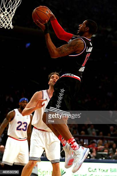 LaMarcus Aldridge of the Portland Trail Blazers and the Western Conference drives to the basket during the 2015 NBA AllStar Game at Madison Square...