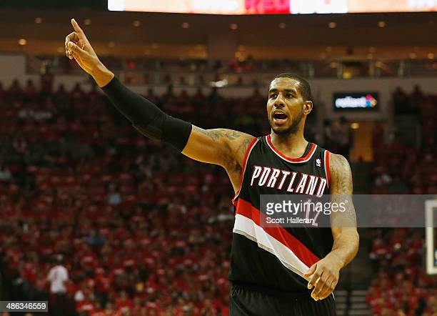 LaMarcus Aldridge of the Portland Trail Blazers celebrates a play on the court in the second half of the game against the Houston Rockets in Game Two...