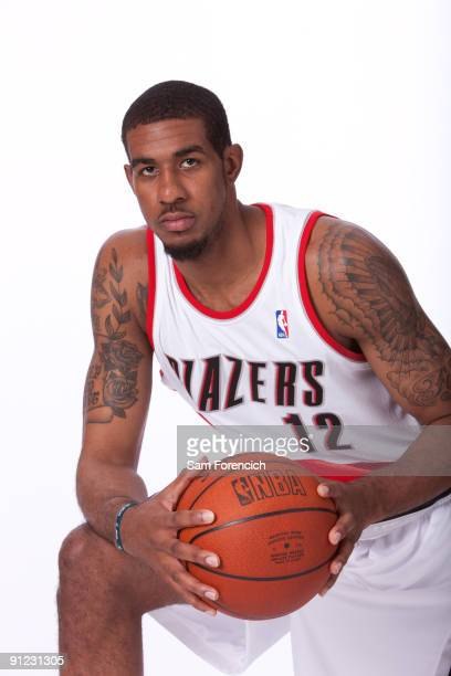 LaMarcus Aldridge of the Portland Trail Blazers poses for a portrait during 2009 NBA Media Day on September 28 2009 at the Rose Garden Arena in...
