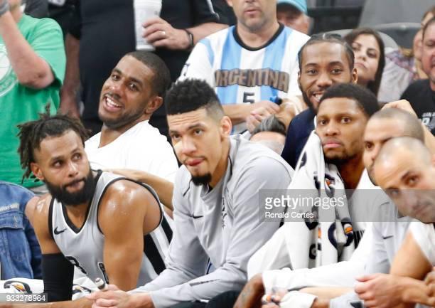 LaMarcus Aldridge of the San Antonio Spurs and Kawhi Leonard of the San Antonio Spurs share a laugh in closing minute of game against the Minnesota...