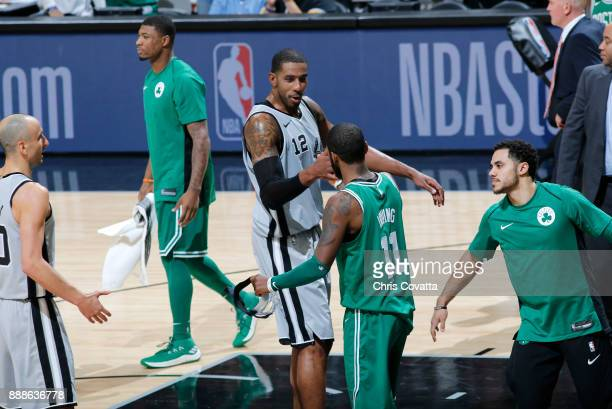 LaMarcus Aldridge of the San Antonio Spurs and Kyrie Irving of the Boston Celtics shake hands after the game on December 8 2017 at the ATT Center in...