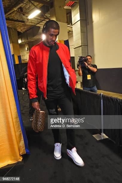 LaMarcus Aldridge of the San Antonio Spurs arrives to the arena prior to Game One of Round One during the 2018 NBA Playoffs against the Golden State...