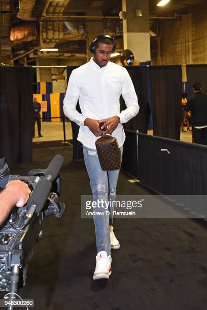 LaMarcus Aldridge of the San Antonio Spurs arrives to the arena prior to Game Two of Round One of the 2018 NBA Playoffs against the Golden State...