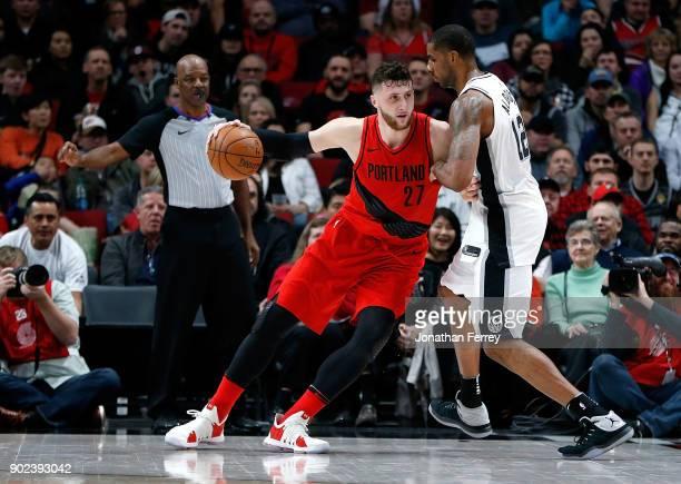 LaMarcus Aldridge of the San Antonio Spurs battles against Jusuf Nurkic of the Portland Taril Blazers at Moda Center on January 7 2018 in Portland...