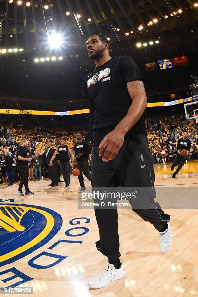 LaMarcus Aldridge of the San Antonio Spurs before the game against the Golden State Warriors in Game Two of Round One of the 2018 NBA Playoffs on...