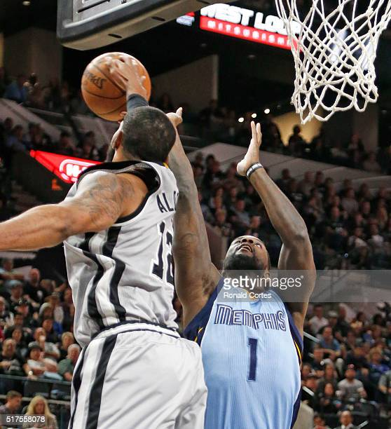 LaMarcus Aldridge of the San Antonio Spurs blocks shot of Lance Stephenson of the Memphis Grizzlies at ATT Center on March 25 2016 in San Antonio...