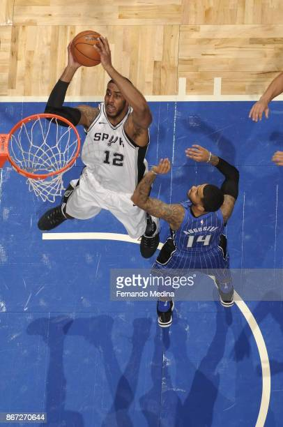 LaMarcus Aldridge of the San Antonio Spurs drives to the basket against the Orlando Magic on October 27, 2017 at Amway Center in Orlando, Florida....