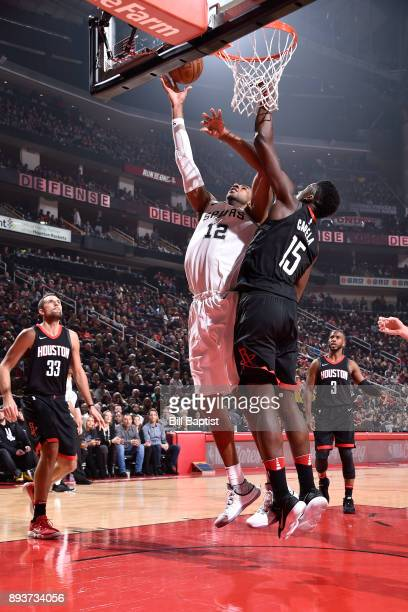 LaMarcus Aldridge of the San Antonio Spurs dunks against the Houston Rockets on December 15 2017 at the Toyota Center in Houston Texas NOTE TO USER...