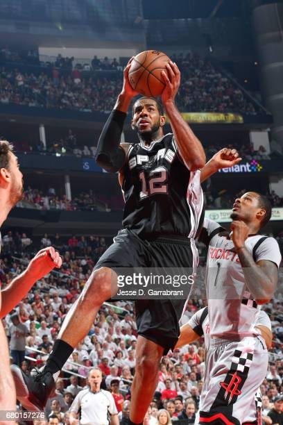 LaMarcus Aldridge of the San Antonio Spurs goes for a lay up during the game against the Houston Rockets during Game Four of the Western Conference...
