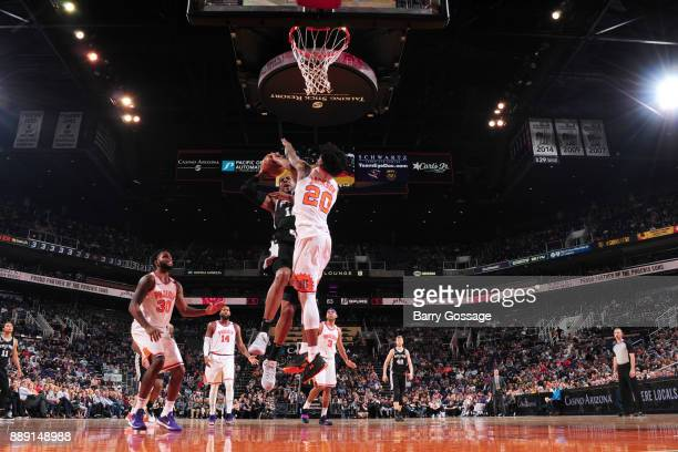 LaMarcus Aldridge of the San Antonio Spurs goes to the basket against the Phoenix Suns on December 9 2017 at Talking Stick Resort Arena in Phoenix...
